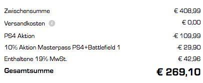 Bildschirmfoto 2016 10 21 um 14.15.42 Playstation 4 slim 1TB + Battlefield 1 für 269€ (statt 321€)   Kreditkarte nötig!
