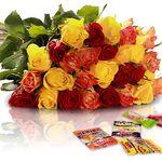 22 bunte Rosen + Süßigkeiten für 18,90€