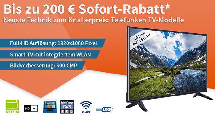 Bis zu 200€ Sofortrabatt auf Telefunken Fernseher   z.B. 40 Zoll Full HD für 274€ (statt 349€)
