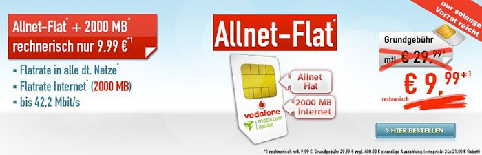 Vodafone Allnet Flat + 2GB für 9,99€ mtl.