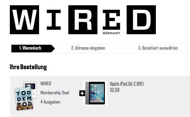 iPad Air 2 32GB WLAN + 4x WIRED für 359€ (statt 433€)
