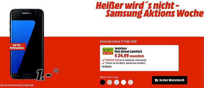 Vodafone oder Telekom Tarif + Samsung S7 (Edge) + PS4 oder Gear VR ab 24,99€ mtl.