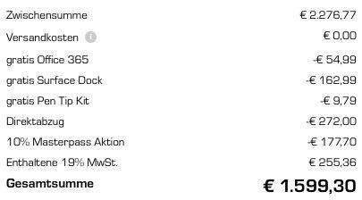 Bildschirmfoto 2016 11 07 um 12.56.53 Surface Book i5/256GB SSD für 1.399€ oder i7/256GB SSD für 1.599€ (statt 1.867€ oder 2.012€)