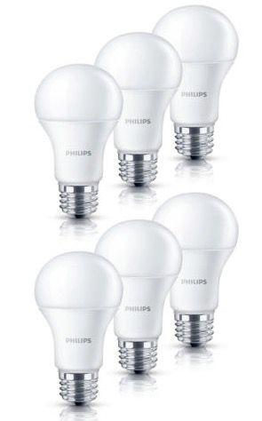 6er Pack Philips LED Leuchten 6W oder 9W E27 für 15,90€