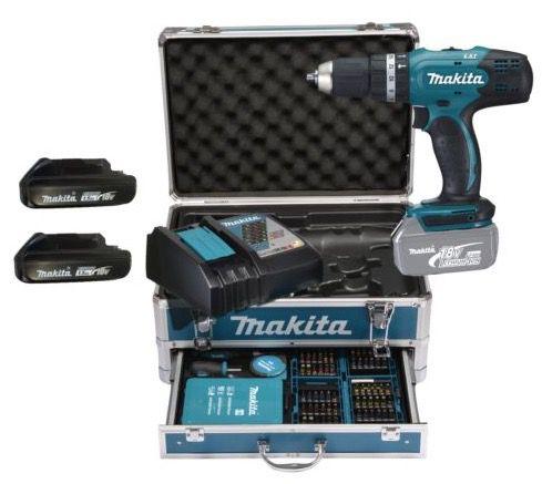Makita DHP453RFX2 Akku Schlagbohrschrauber + Alu Koffer & 96 tlg. Zubehör für 229€ (statt 250€)