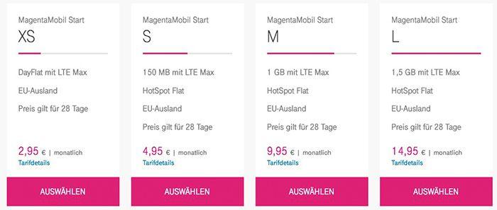 Telekom Magenta Prepaid LTE Tarife mit bis zu 1,5GB ab 4,95€ mtl. + 10€ Guthaben