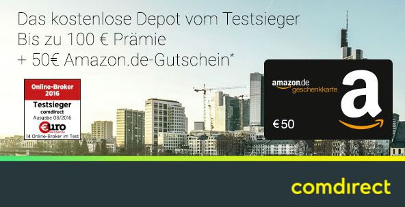 comdirect Depot mit bis zu 100€ Prämie + 50€ Amazon.de Gutschein   keine Schufa Abfrage!