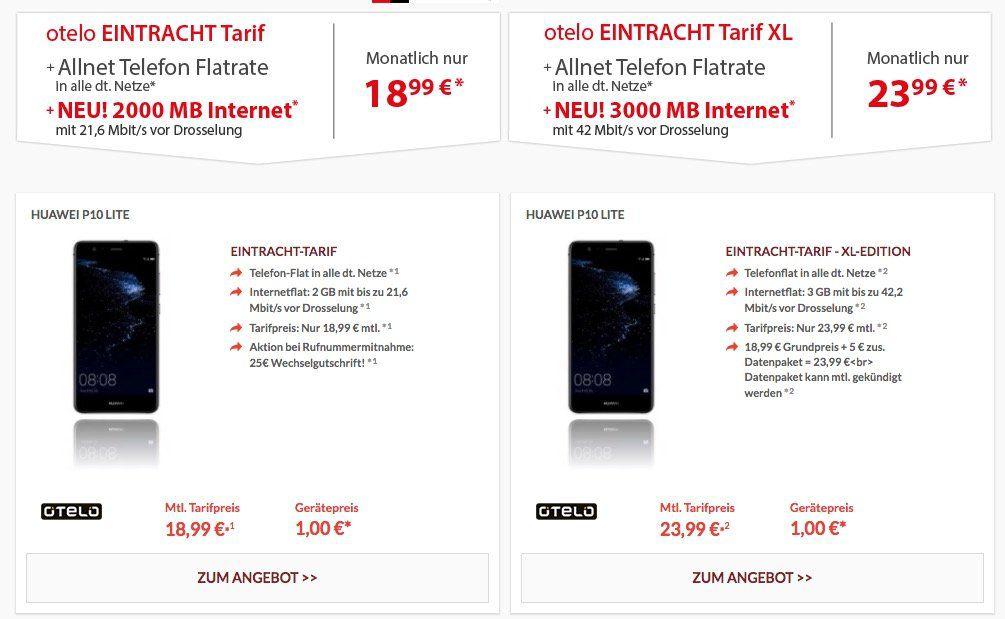 Huawei P10 Lite + Otelo Allnet + 2GB Daten für 19€