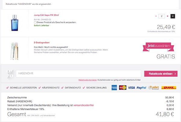 Parfum & Beauty Sale + 18% Gutschein + VSK frei ab 29€ + gratis Artikel