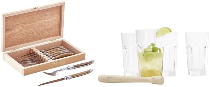 Cocktail und Steakbesteck Leonardo Rocks Caipi Gläser Set + Landscape Steakbesteck Set ab 16,93€