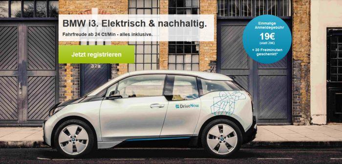 Drivenow Drive Now   für Neukunden inkl. 30 Freiminuten für 19€ (statt 29€)