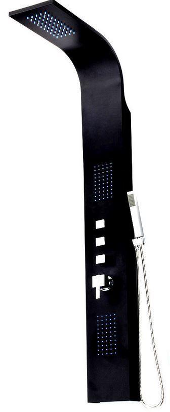 Schwarzes Aluminium Duschpaneel mit LED für 149€