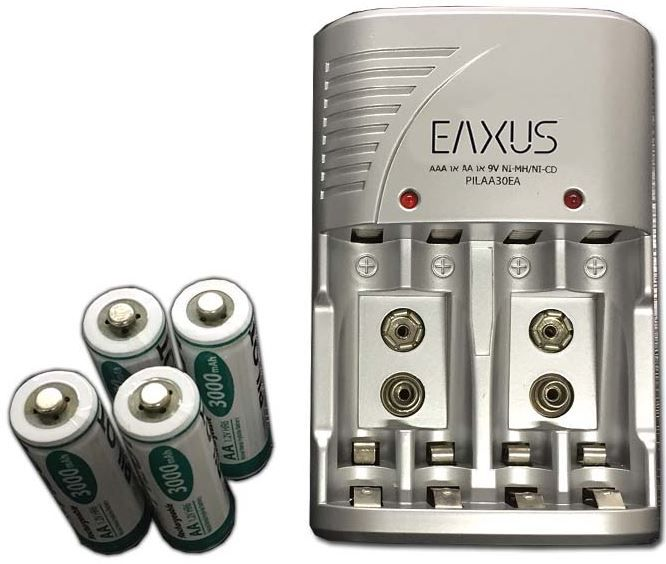 EAXUS Ladegerät + 4 x AA Ni MH Akku 3000 mAh für 9,99€