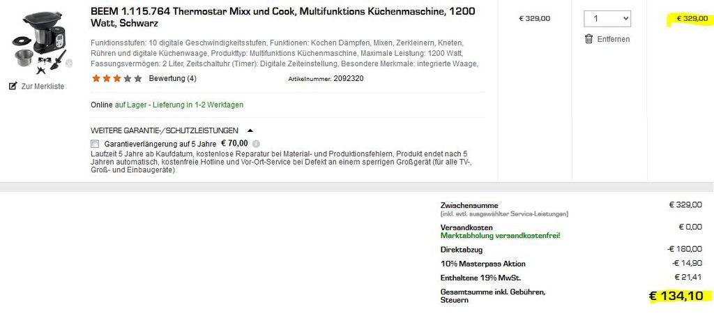 Fehler 1024x453 Fehler? Beem Thermostar Mixx & Cook statt 235€ für 134,10€
