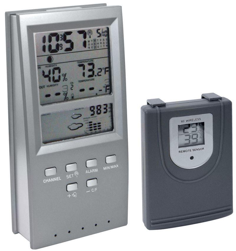 W054RF   Funk Wetterstation mit Uhr, Hygro  Thermometer für 14,99€