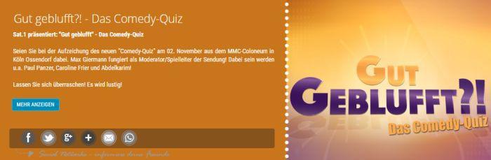 """Freikarten für """"Gut Geblufft   Das Comedy Quiz"""" am 2. November"""