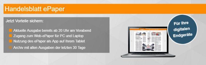 Jahresabo Handelsblatt ePaper gratis – endet automatisch!