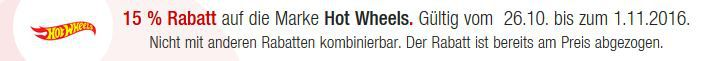 Hot Wheels Hot Wheels & LEGO Duplo mit 15% Rabatt @Galeria Kaufhof