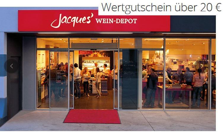 Jacques' Wein Depot: 20€ Einkaufsgutschein für nur 10€   kein MBW und gilt auch auf den Sale