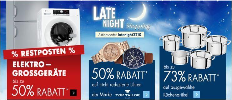 Karstadt late night 22.10.2016 Karstadt Weekend Late Night mit z.B. 50% Rabatt auf nicht reduzierte Tom Tailor Uhren