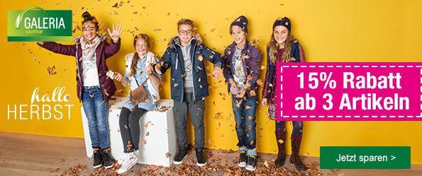 Kaufhof Gutschein Galeria Kaufhof: 15% extra Rabatt beim Kauf von 3 Artikel aus den Bereichen Spielwaren & Kinderbekleidung