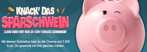 Knack das Sparschwein 1 Tipp EuroMillions (61 Mio Jackpot!) + 25 Rubbellose + 2 Tipps Mini Lotto für nur 0,99€   Lottoland Neukunden!