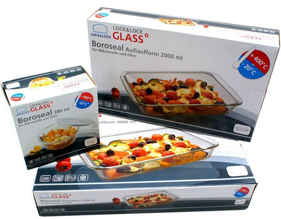 LOCK & LOCK BOROSEAL Glas Auflaufformen Set + Frischhaltebehälter für 12,95€ (statt 21€)