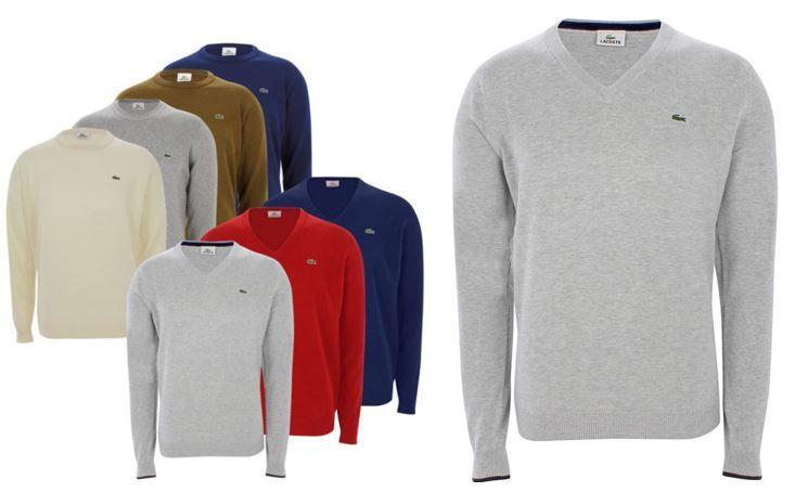 Lacoste Herren Pullover Lacoste Herren Langarm V Neck oder Rundhals Pullover für je 49€