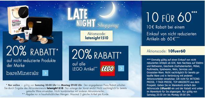 Late Night 10€ Rabatt Karstadt Weekend Late Night mit z.B. 20% auf alle Lego Artikel   oder 10€ Rabatt ab 60€ Einkauf