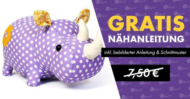 Nashorn gratis Nähanleitung und Schnittmuster für ein Stofftier Nashorn gratis