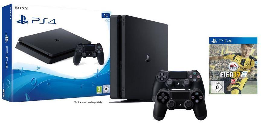 PLaystation 4 Slim Bundle Playstation 4 slim 1TB + 2. Controller + FIFA 17 statt 368€ für 299€