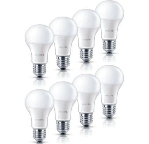 8er Pack Philips LED Lampe 9 Watt (wie 60W) E27 warmweiß für 23,99€ (statt 32€)