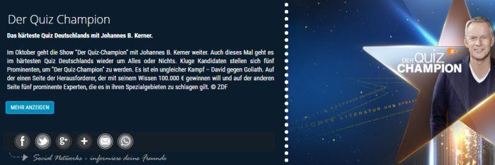 """Quiz Champion Freikarten für """"Der Quiz Champion"""" am 12. und 13.10. in Berlin"""