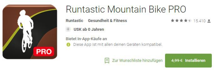 Runtastic Mountain Bike Pro (Android) kostenlos
