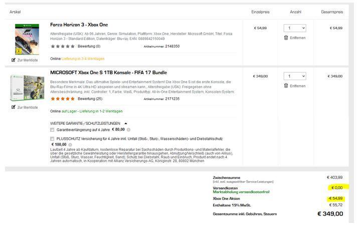Saturn Fifa XBox one Bundle Xbox One S 1TB weiß + Fifa 17 + Forza Horizon 3 für 349€ (statt 396€)