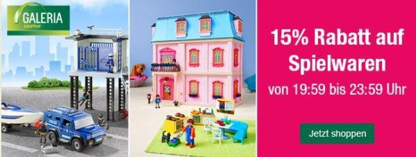 Spielwaren mit 15% Rabatt bei Kaufhof bis Mitternacht   Top