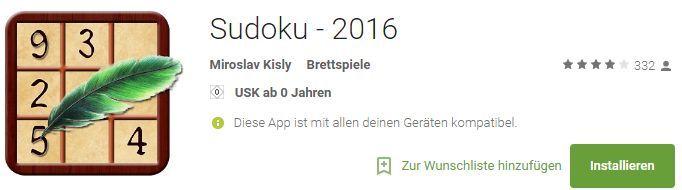 Sudoku   2016 (Android) kostenlos