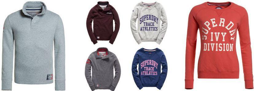 Superdry Damen T Shirts Superdry Sweatshirts für Damen und Herren   div. Modelle für je 29,95€