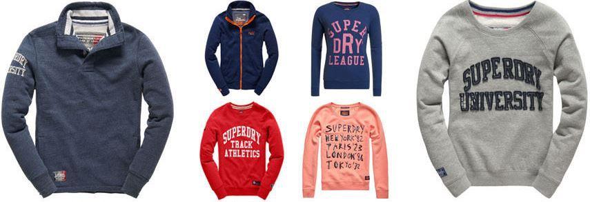Superdry Herren T Shirts Superdry Sweatshirts für Damen und Herren   div. Modelle für je 29,95€