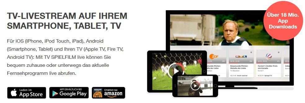 TV Livestream 1 Monat gratis TV schauen über TV Spielfilm App mit 50 Sender, HD & werbefrei   TOP!