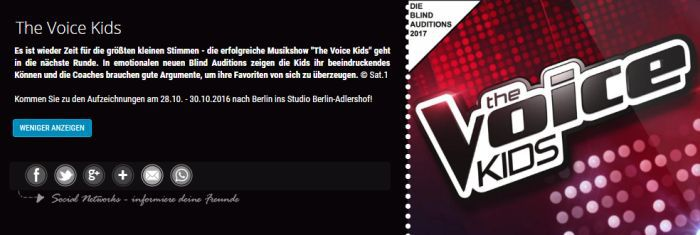 Freikarten für The Voice Kids (28.   30. Oktober)