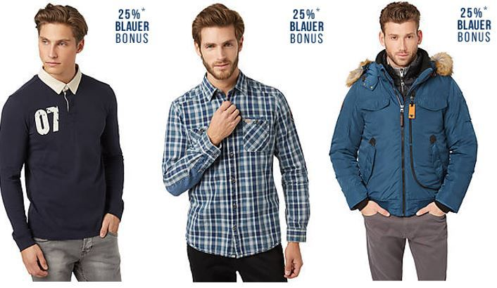 Tom Tailor blauer Bonus Tom Tailor Flash Sale mit 25% extra Rabatt auf blaue Fashion bis Mitternacht