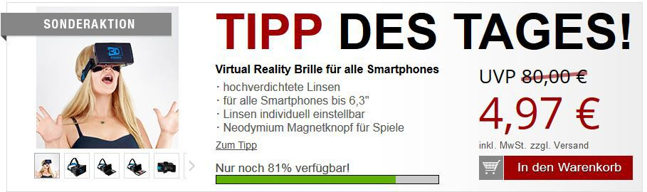 Virtual Reality Brille für alle Smartphones bis 6,3 für 10,94€