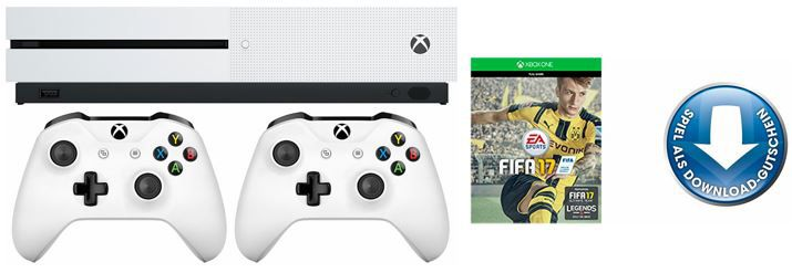 Xbon one S 2 Controller Set XBox One S1 500 GB + FIFA 17 + 2ter Controller ab 296€