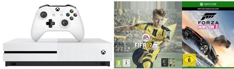 Xbox One S 1TB weiß + Fifa 17 + Forza Horizon 3 für 349€ (statt 396€)