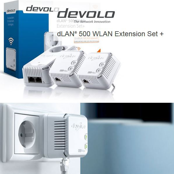 dLAN 500 WLAN Extension Set + Lan und Powerline Adapter für 111€