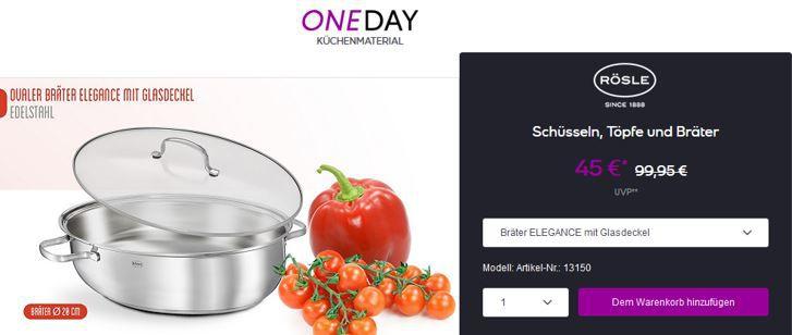 one Day Rösle Rösle Flash Sale bei vente Privee   z.B. Bräter ELEGANCE  ab 45€