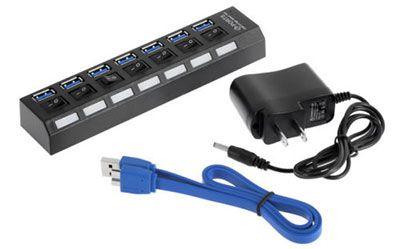 7 Port USB 3.0 Hub mit AN/AUS Knöpfen für 8,45€
