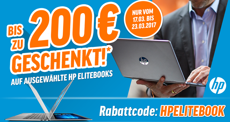 Bis zu 200€ Rabatt auf ausgewählte HP Notebooks & PC Systeme   z.B. HP EliteBook 1030 G1 für 1.499€ (statt 1.699€)