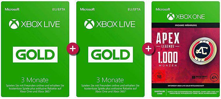 Xbox Live Gold: 6 Monate + APEX Legends: 1.000 Coins für 19,99€ (statt 35€)